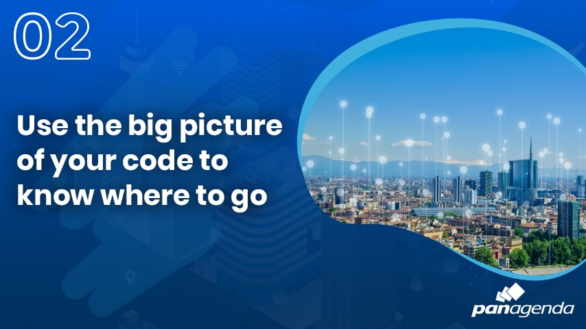 Use the big picture of your code to know where to go