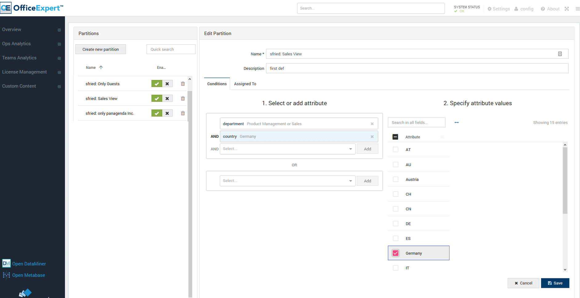Screenshot about Tenant Partitioning --- Provides Flexibility to Securely Assign Data Viewing